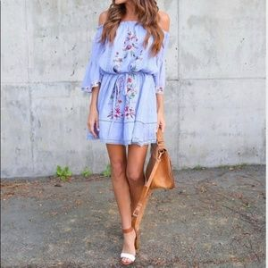 Umgee Flamenco beach blue embroidered boho dress L